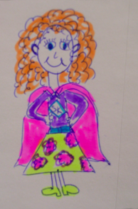 Mrs. Karen and her cape.